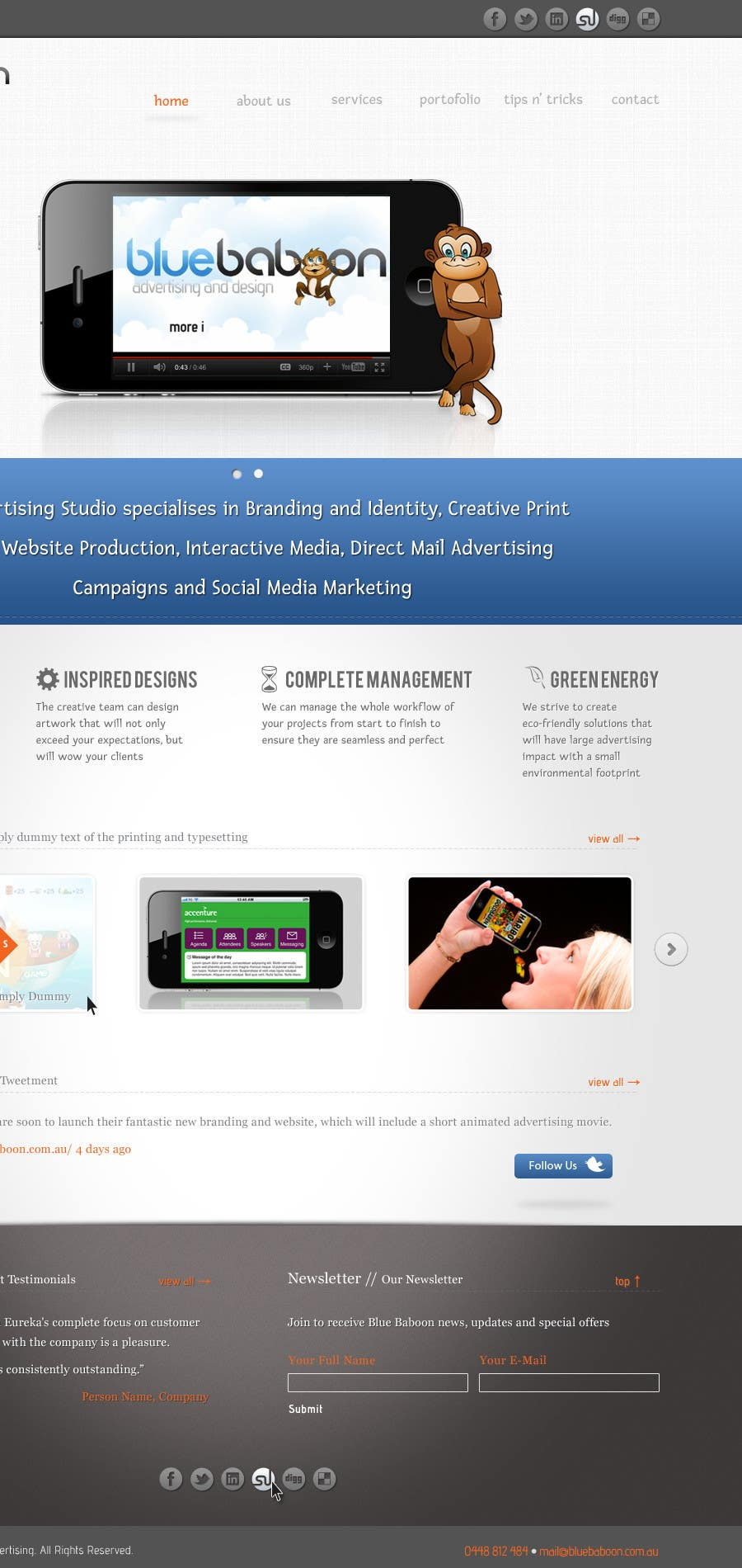 Inscrição nº                                         10                                      do Concurso para                                         Wordpress Theme Design for Blue Baboon Advertising
