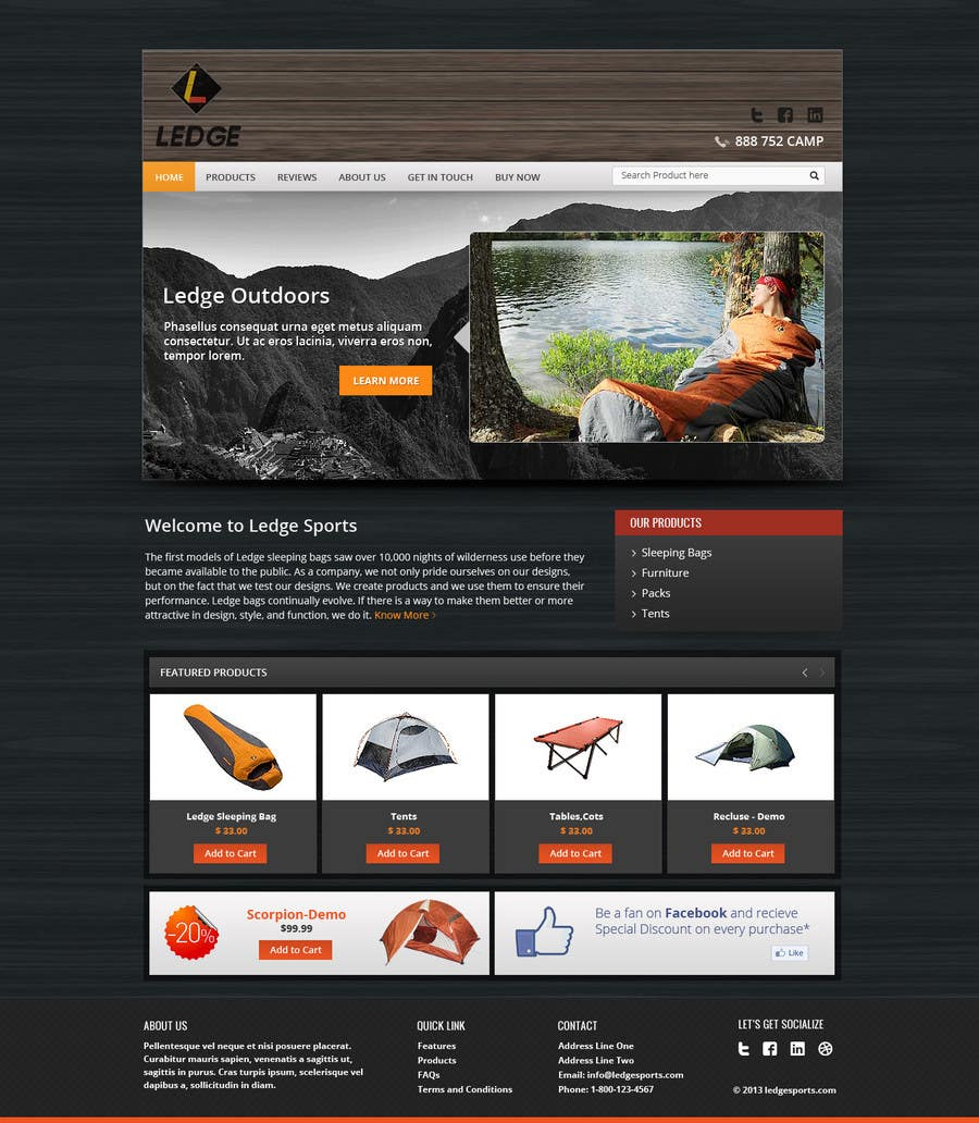 Penyertaan Peraduan #18 untuk Design a Website Mockup for Ledge Sports