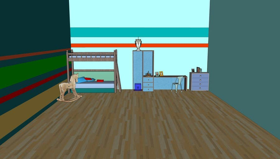 Entry #5 by Fabiolevy for Design a children's bedroom green