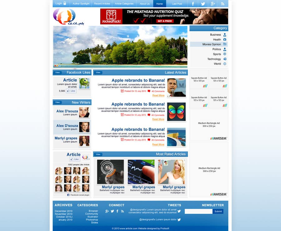 Konkurrenceindlæg #3 for Design a Website Mockup for an articles website