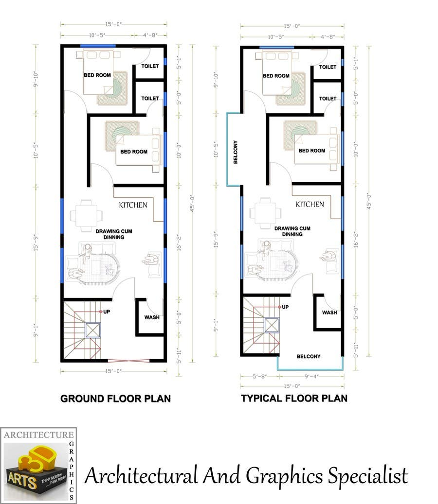 Need a Fantastic House plan of 15'x45' Area | Freelancer