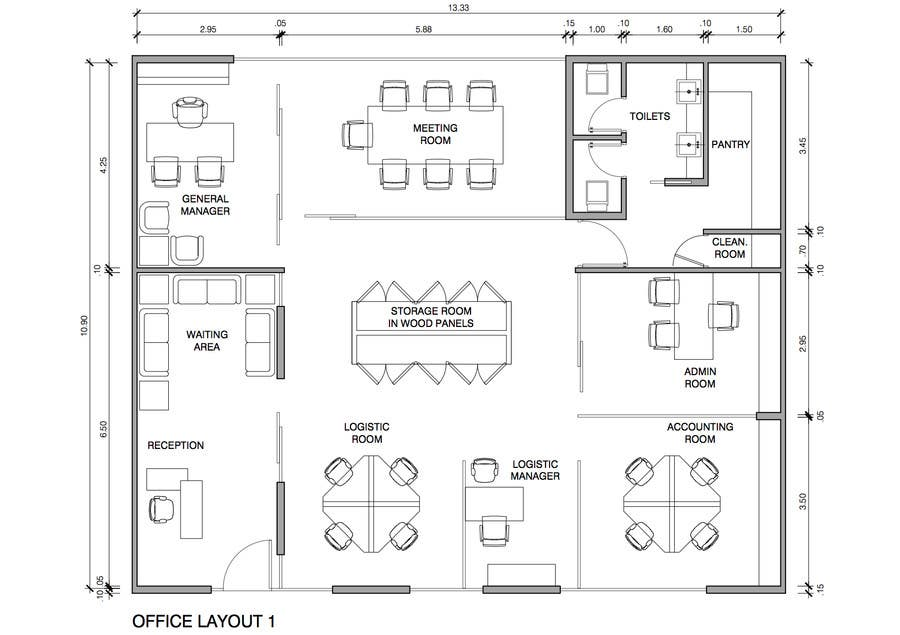 Autocad layout office freelancer for Office design dimensions