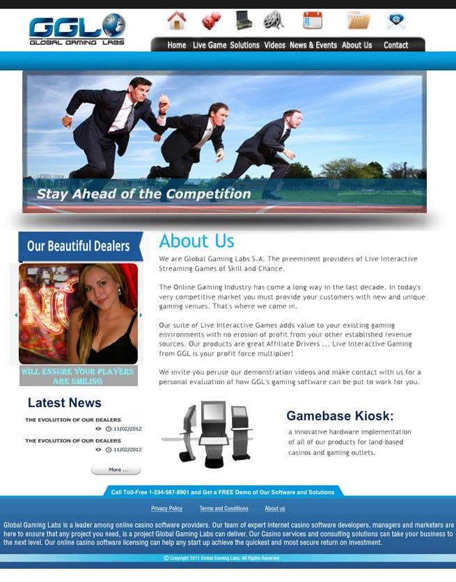 Kilpailutyö #43 kilpailussa Website Design for A Leading Live Casino Software Provider