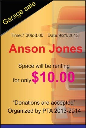 "Inscrição nº 1 do Concurso para Design an Advertisement for Anson Jones ES ""Garage Sale"""