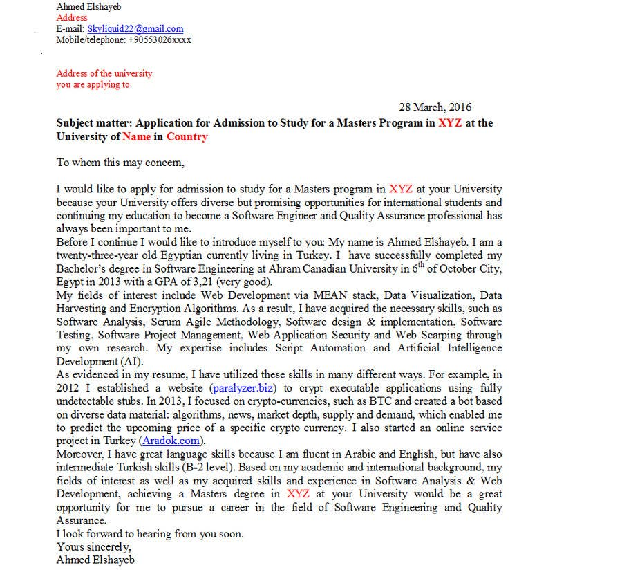 letter of motivation for the master Letter of motivation for master application - instead of spending time in unproductive attempts, get qualified help here get an a+ grade even for the most urgent.