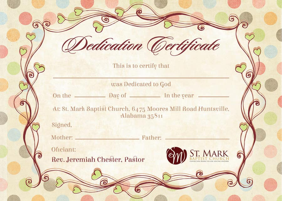 Pretty Baby Dedication Certificate Template Gallery  Example