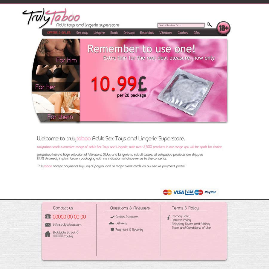 #6 for Design an amazing front page for an adult toys website. by ShannonAS