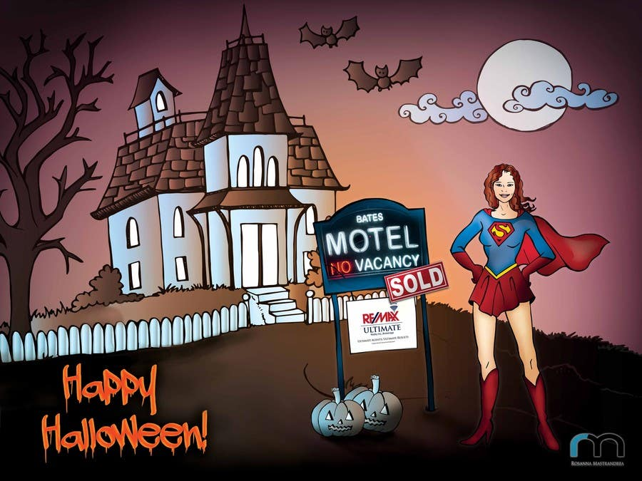 #27 for Design a Halloween postcard for a real estate agent by elenabsl