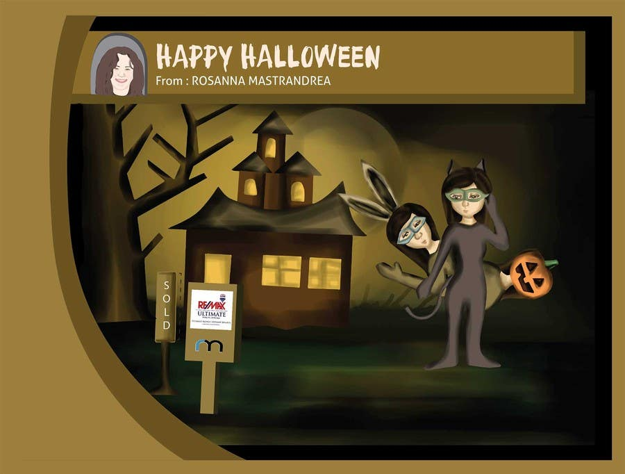 #26 for Design a Halloween postcard for a real estate agent by syifafauziah