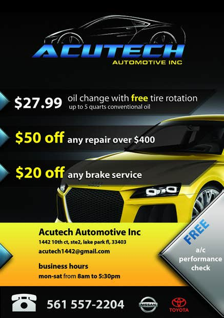 #19 for Design a Flyer for automotive repair shop 4x6 by rilographics