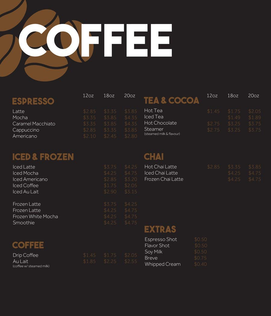 entry #1 by tpfleider for design menu boards for coffee shop