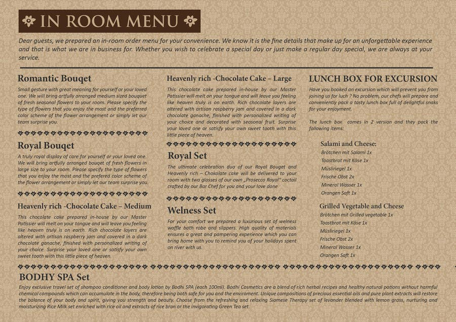 Contest Entry #                                        10                                      for                                         Design In Room Menu for Hotel
