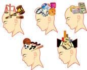 Illustration of the minds of people in five professions için Graphic Design24 No.lu Yarışma Girdisi