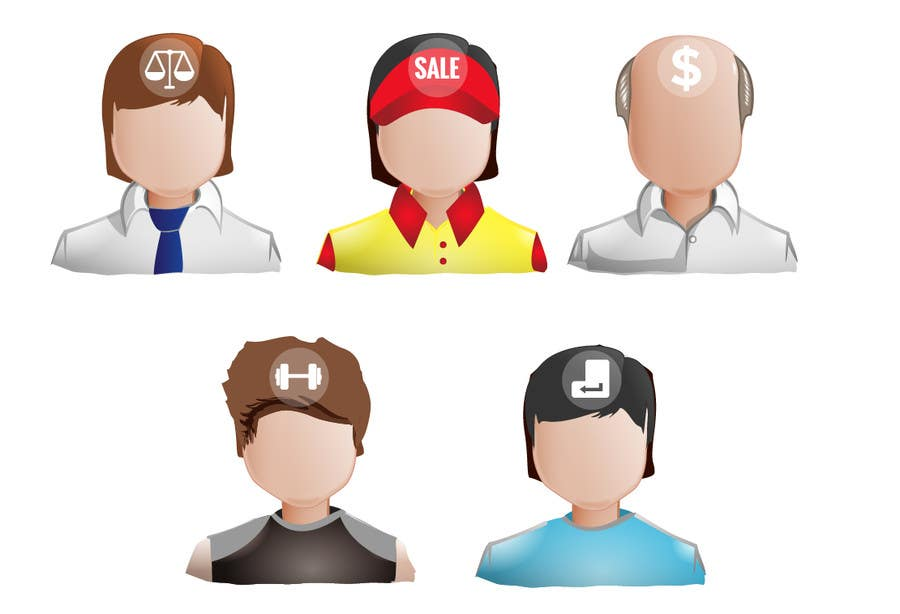 Illustration of the minds of people in five professions için 5 numaralı Yarışma Girdisi