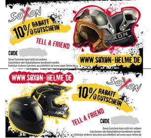 #1 for Voucher Design graphic front & Back for helmet brand Size: 7x14cm by qgdesign