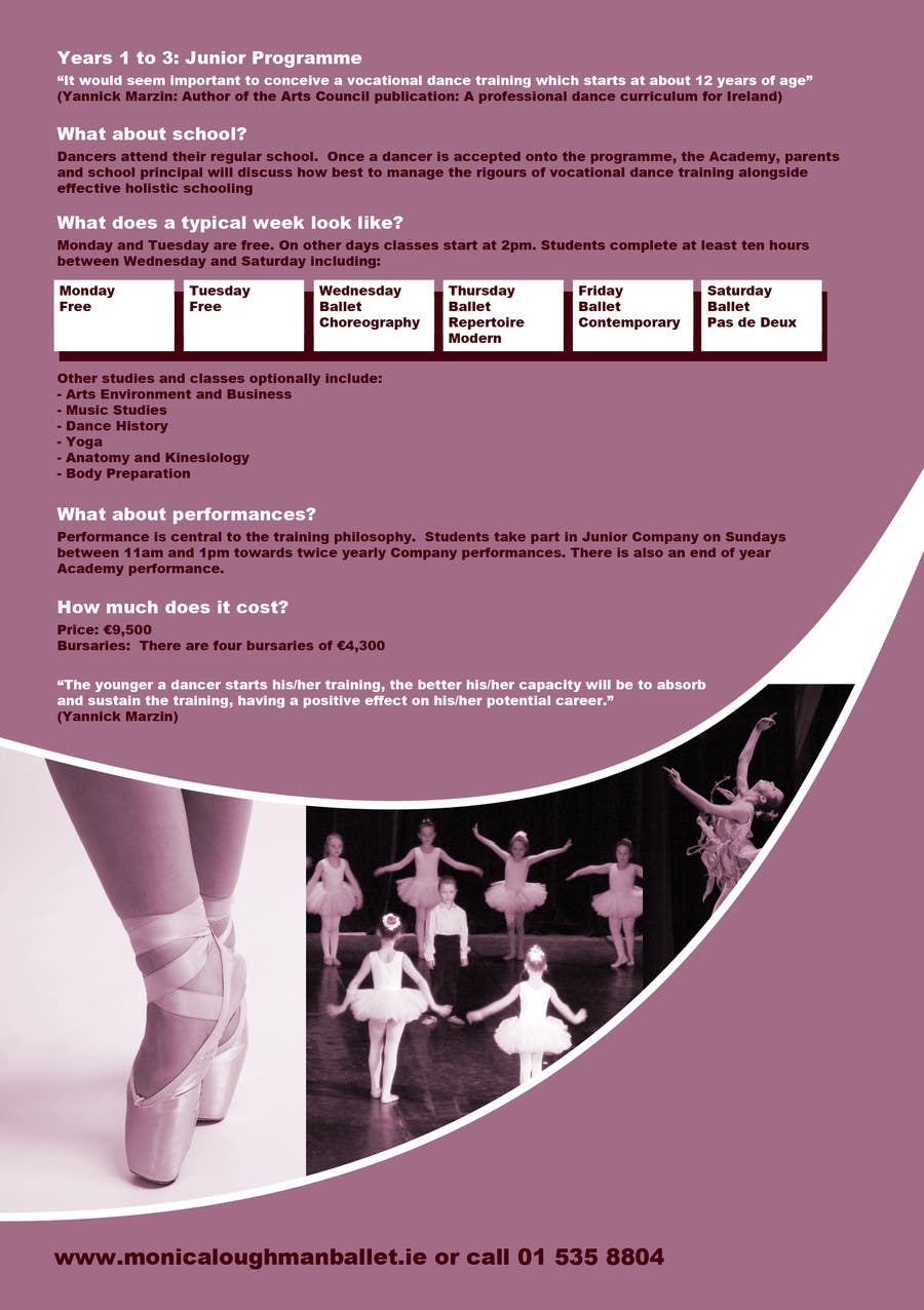 Proposition n°5 du concours Design a Flyer for a prestigious dance academy