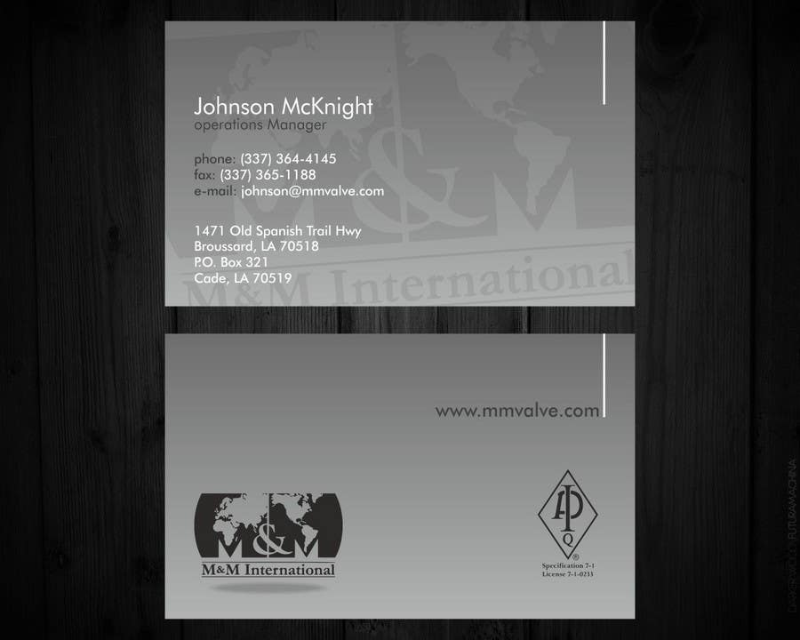 Kilpailutyö #100 kilpailussa Business Card Design for M&M International