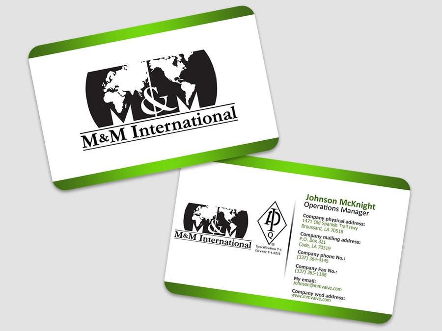 Inscrição nº 125 do Concurso para Business Card Design for M&M International