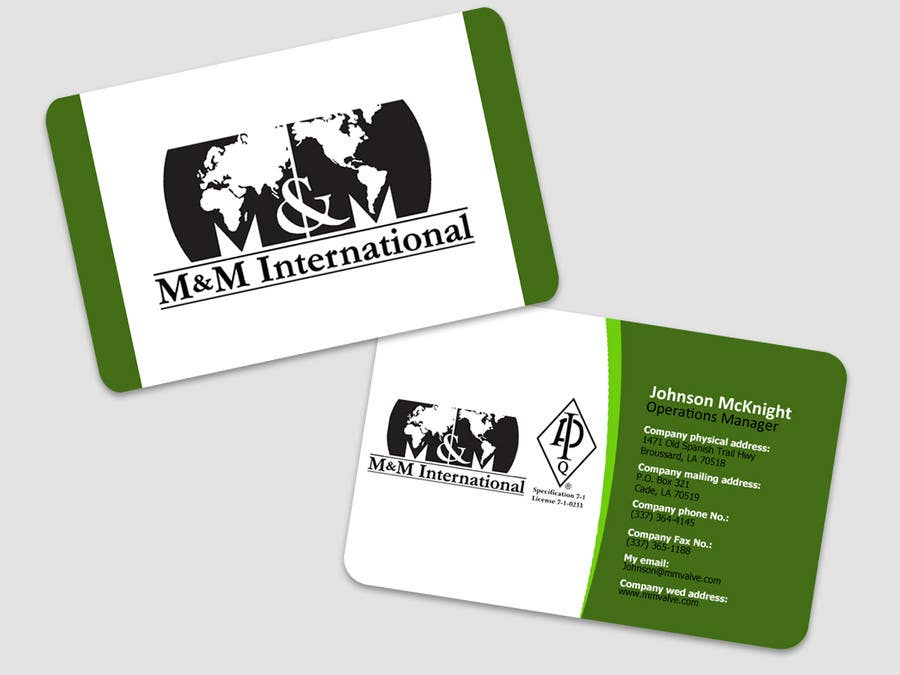 Penyertaan Peraduan #127 untuk Business Card Design for M&M International
