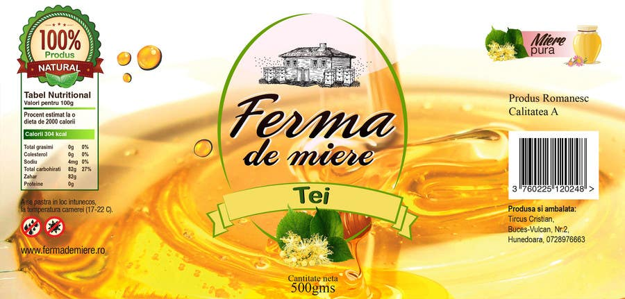 #68 for Label design for Honey Jar (eticheta miere) by mandeepkrsharma