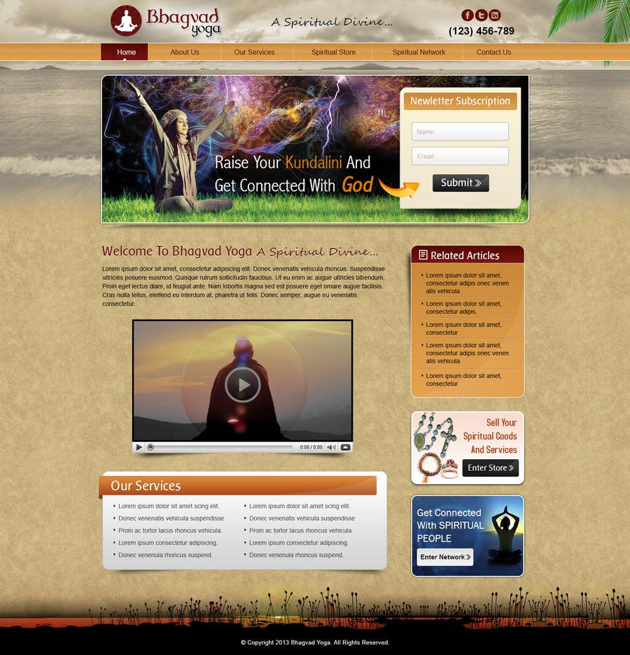 #12 for Design a Website Mockup for Bhagvad Yoga Website by atularora