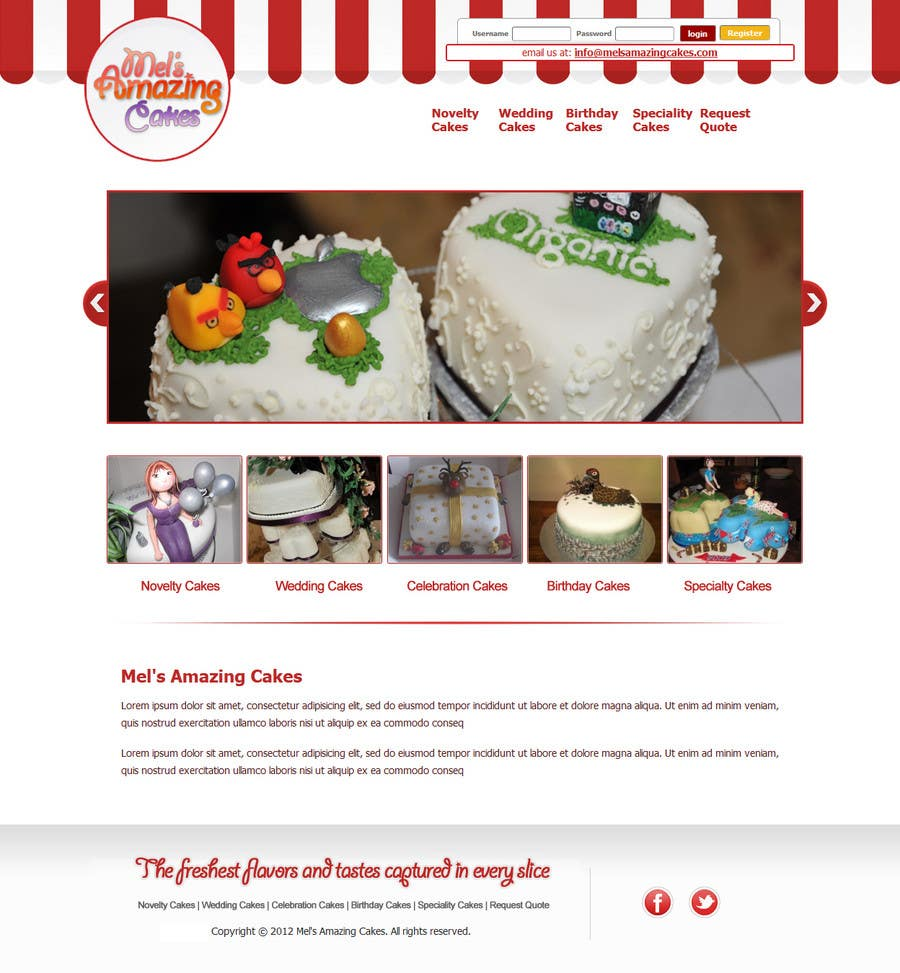 Inscrição nº                                         51                                      do Concurso para                                         Wordpress Theme Design for Melanies Amazing Cakes