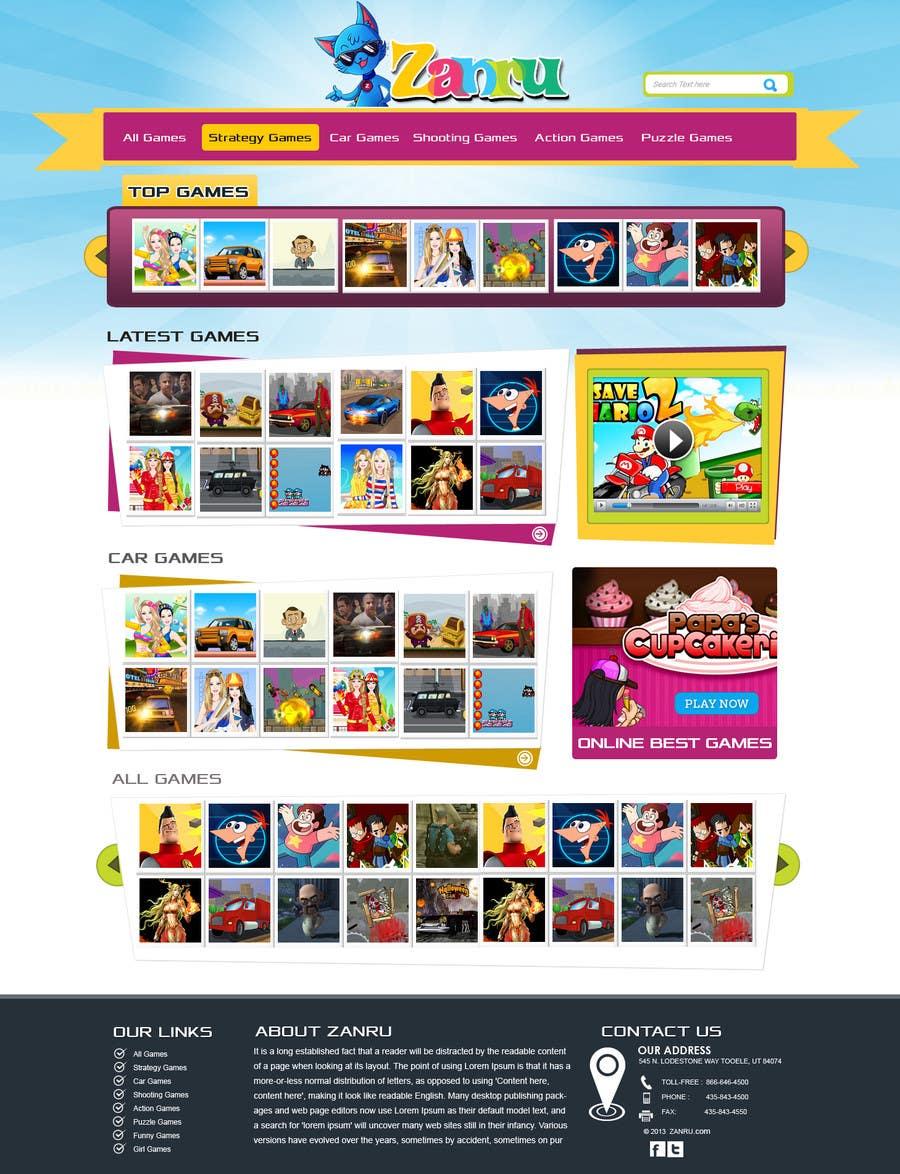 #19 for Design a Mockup for an Online Flash Game Website - Zanru.com by MagicalDesigner
