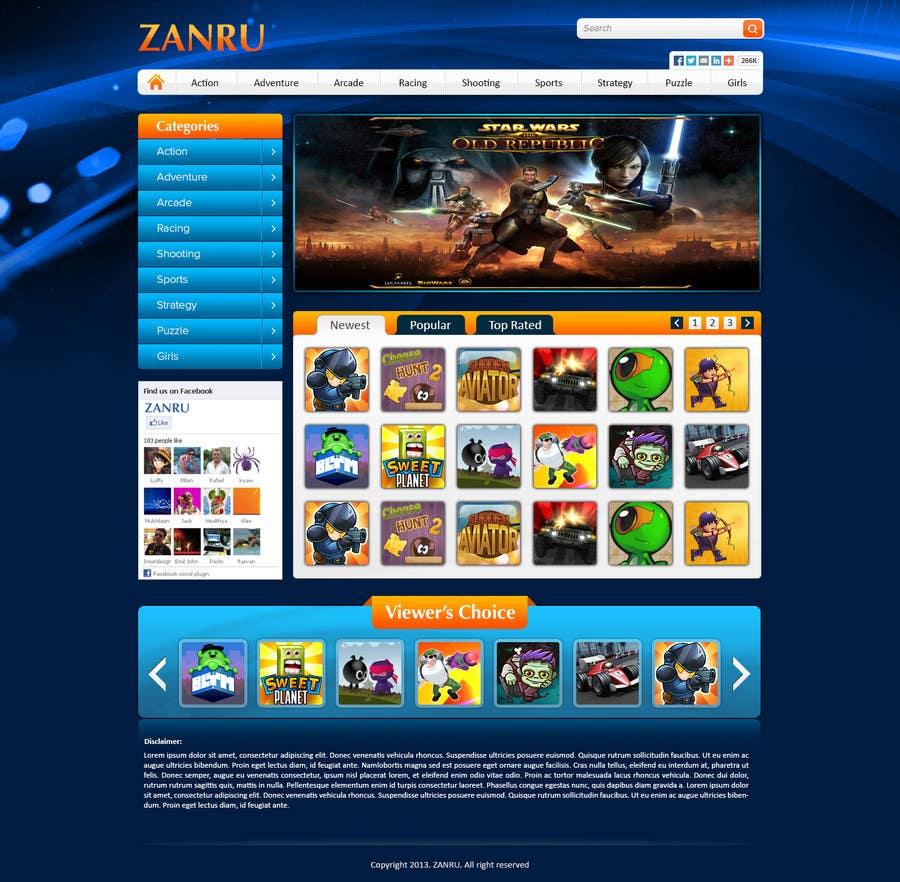 #2 for Design a Mockup for an Online Flash Game Website - Zanru.com by atularora