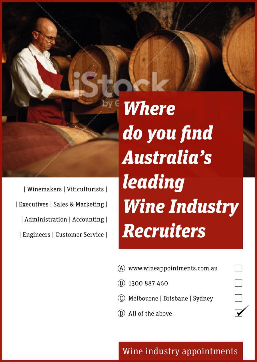 Kilpailutyö #10 kilpailussa Design an Advertisement for recruitment into the wine industry
