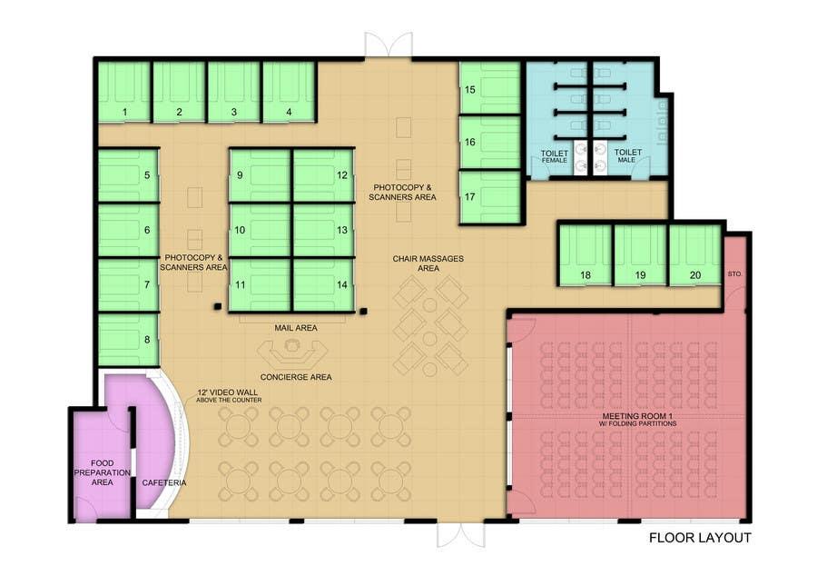 Penyertaan Peraduan #8 untuk Architectural Floorplan Layout for PolarPointe Business Cafe