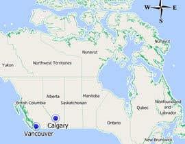Nro 9 kilpailuun Create a Locations Map of Canada With 3 Points käyttäjältä xtxskif