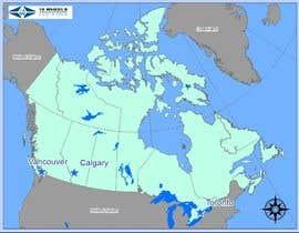 Nro 13 kilpailuun Create a Locations Map of Canada With 3 Points käyttäjältä bcvija