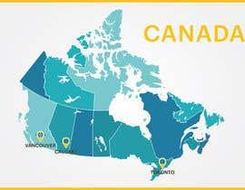 Nro 6 kilpailuun Create a Locations Map of Canada With 3 Points käyttäjältä DipeshPal