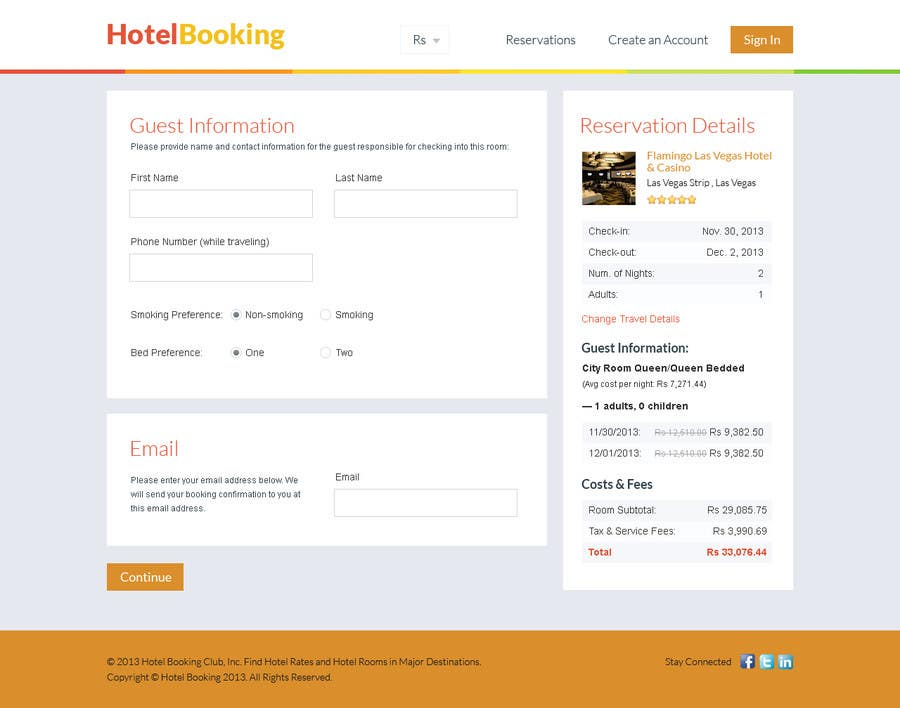 User Interface / IA Contest Entry #22 for Hotel booking website mockup
