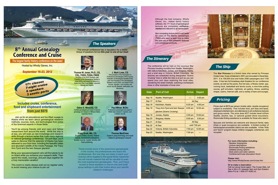 Inscrição nº 49 do Concurso para Brochure Design for Annual Conference and Cruise