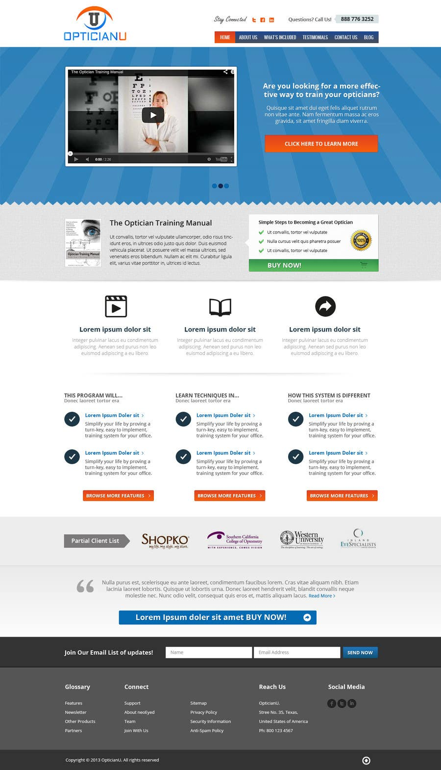 Penyertaan Peraduan #                                        6                                      untuk                                         Design a Website Mockup for www.OpticianTraining.com