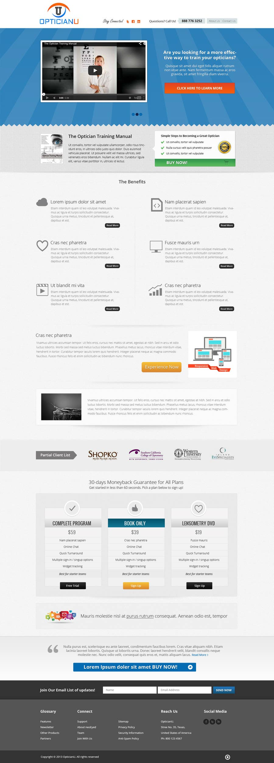 #13 for Design a Website Mockup for www.OpticianTraining.com by Pavithranmm