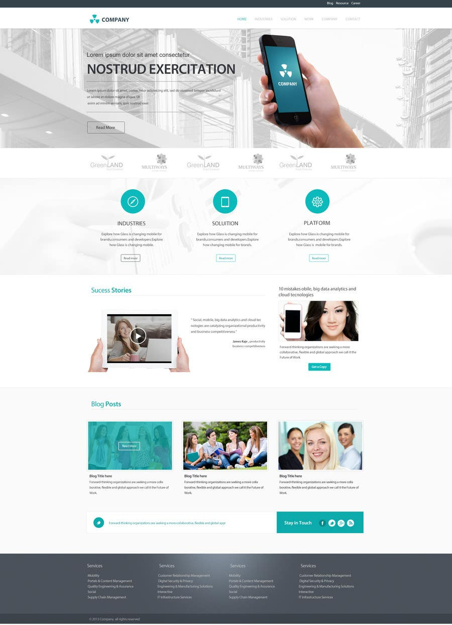 #22 for Home Page Design for a Corporate Site ( Would evolve into long term contract) by SadunKodagoda