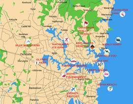 Nro 15 kilpailuun Illustrate Map of Sydney with cartoon like elements käyttäjältä Rightwaydesign