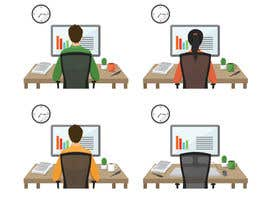 VitalinaLitvin tarafından Man with green shirt sit on office chair in front of table with one monitor için no 101