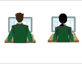 Igladesign tarafından Man with green shirt sit on office chair in front of table with one monitor için no 69