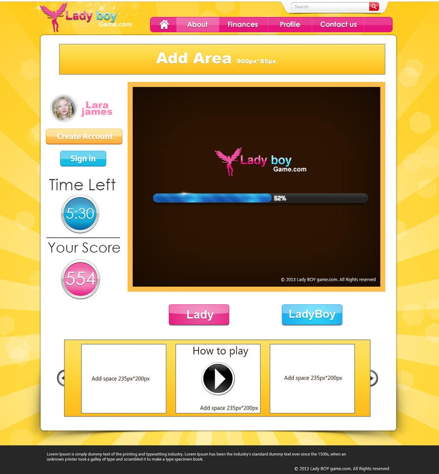 #56 for Design a Website Mockup for domain Ladyboygame.com by dreamstudios0