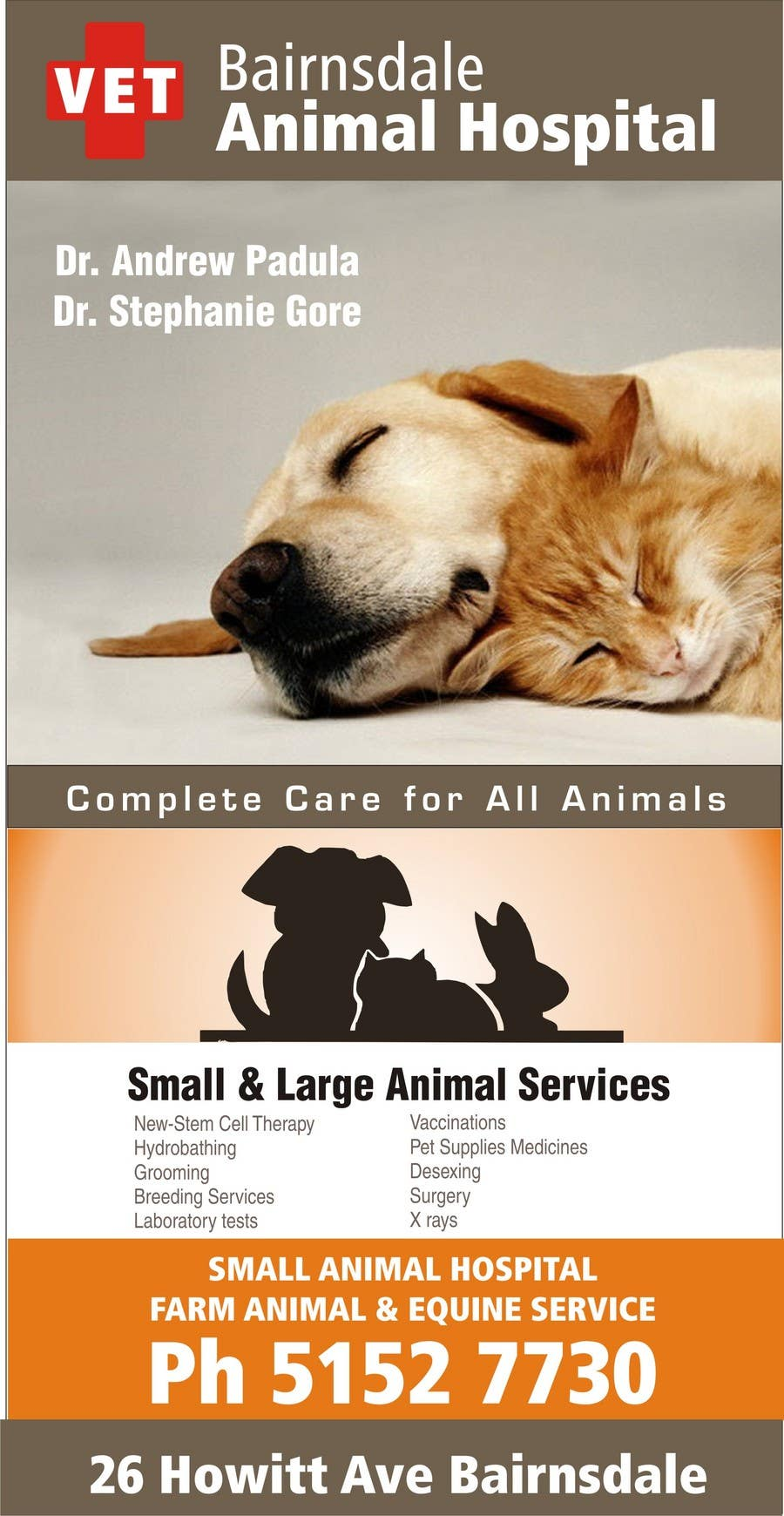 Конкурсная заявка №38 для Graphic Design for Bairnsdale Animal Hospital