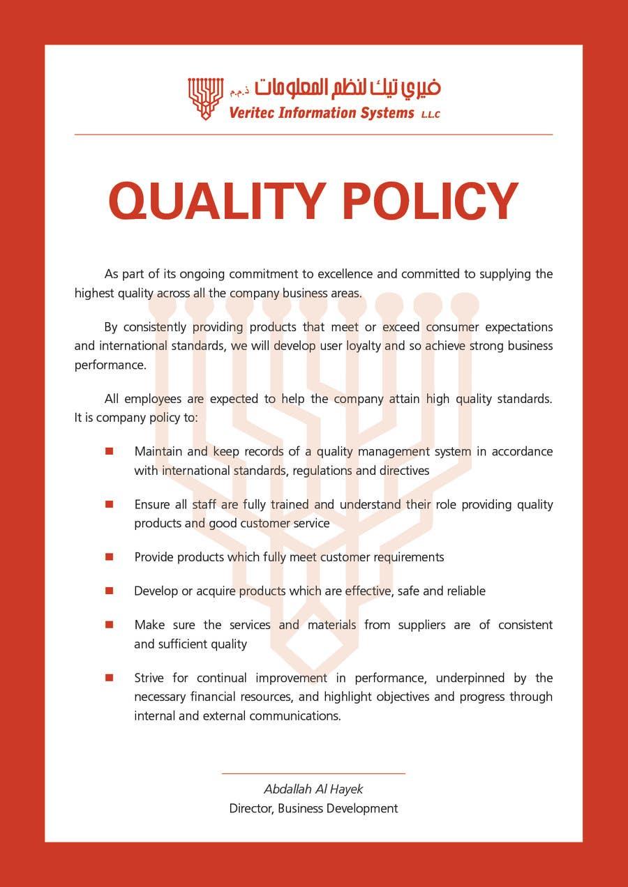 Penyertaan Peraduan #78 untuk Design a Flyer for a Quality Policy Document