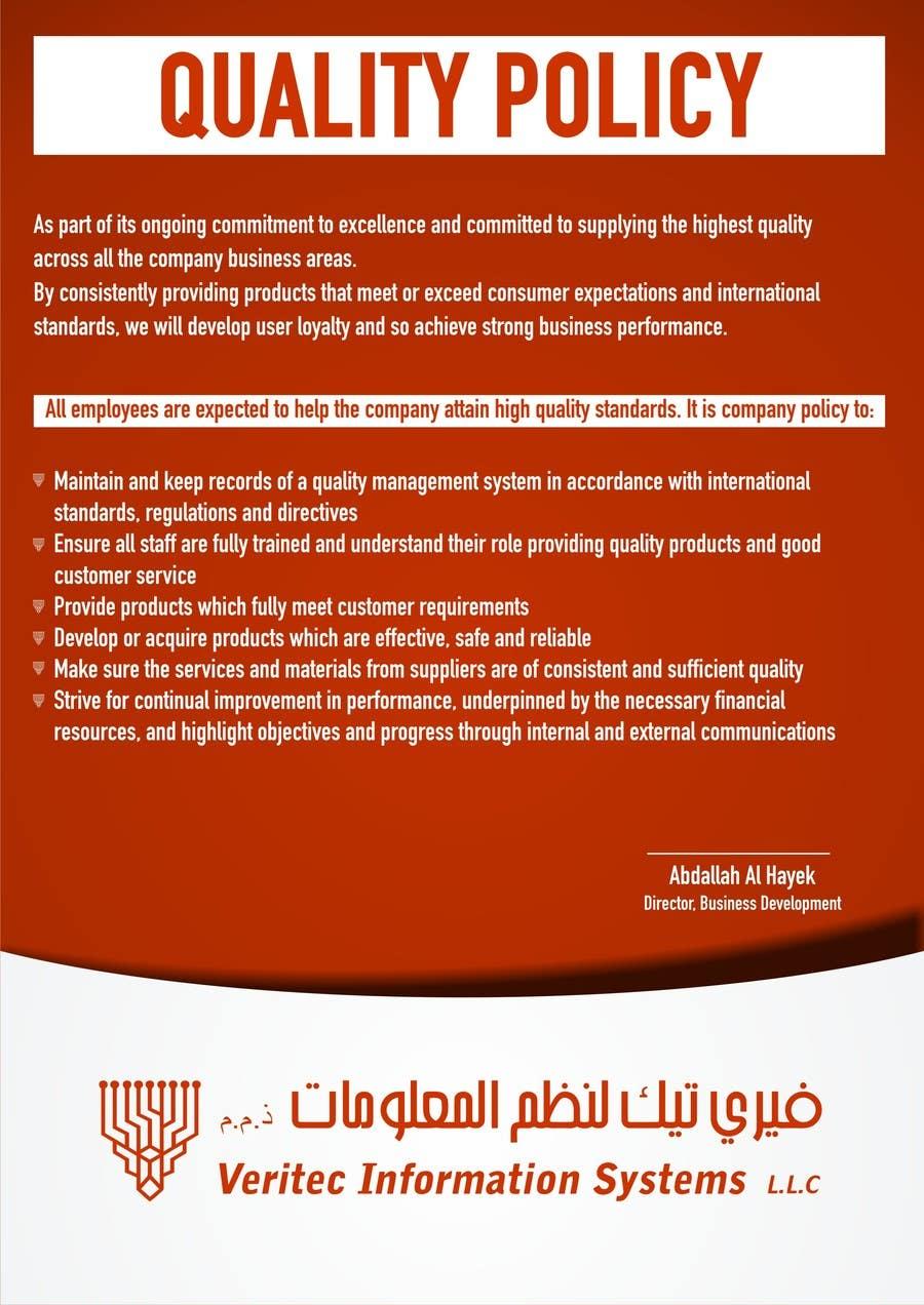 Penyertaan Peraduan #64 untuk Design a Flyer for a Quality Policy Document