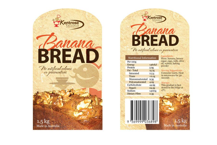Banana bread packaging label design : Freelancer