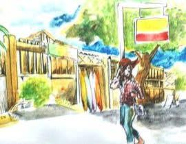 Nro 1 kilpailuun Draw a girl walking down the street käyttäjältä panggahbaskoro