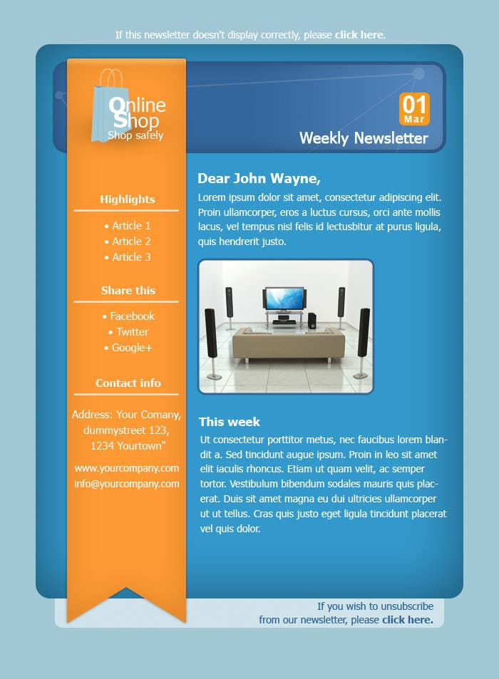 #36 for Photoshop Design for a dummy newsletter by giannoulasv