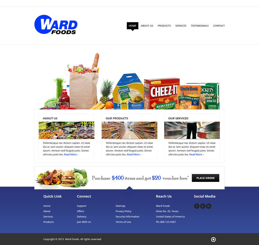 Inscrição nº 19 do Concurso para Design a Website Mockup for a Wholesale food distributor