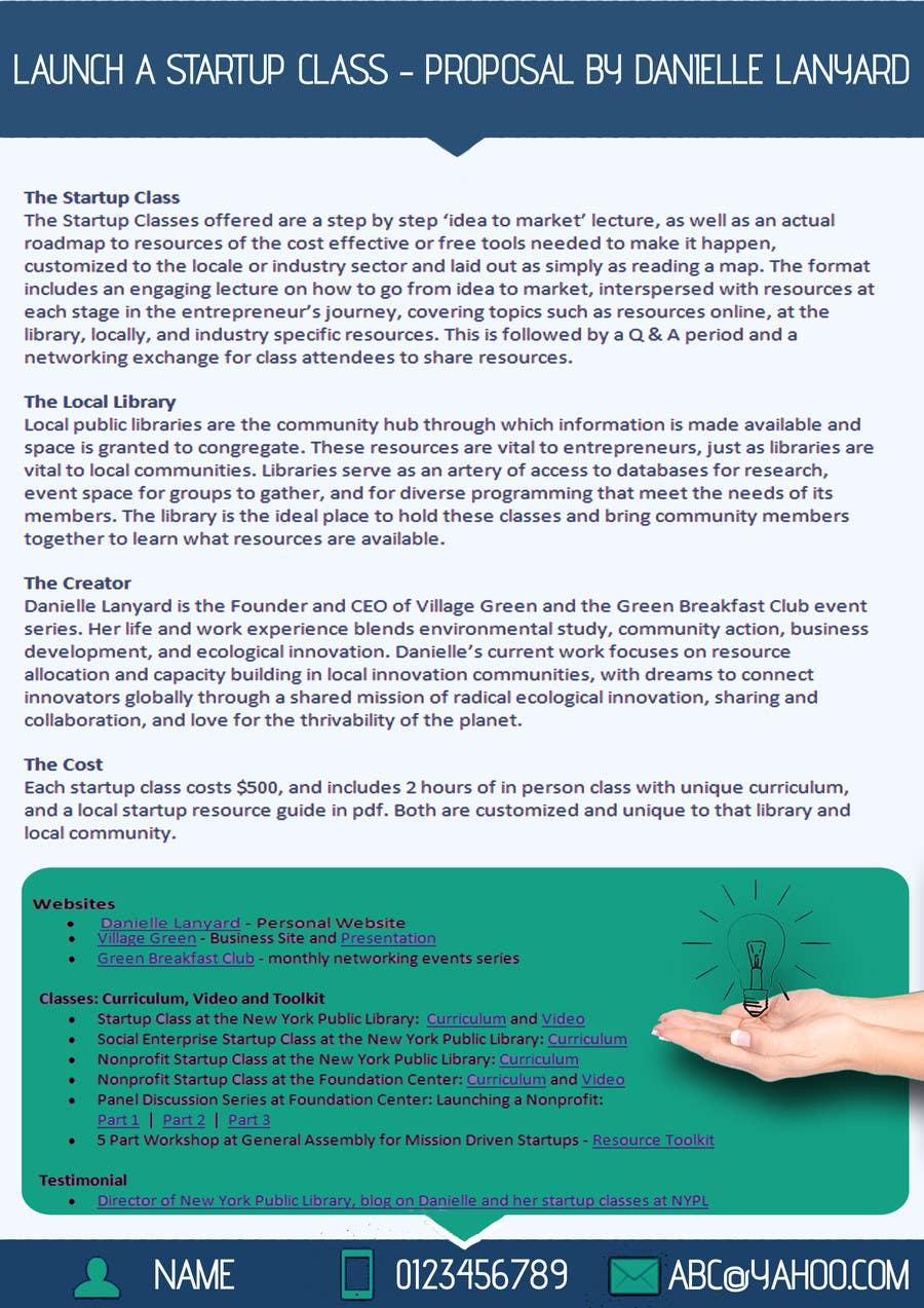 Kilpailutyö #34 kilpailussa Design a Proposal brochure for a new class to be offered